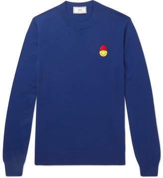 Ami + The Smiley Company Slim-Fit Appliquéd Merino Wool Sweater