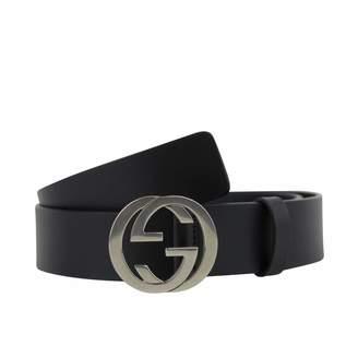 Gucci Silver 154 Men's Interlocking G Leather Belt Buckle 411924 KU2HN 8499