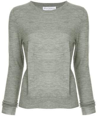 J.W.Anderson Light-Grey Melange Crew-neck Jumper With Dart Detailing