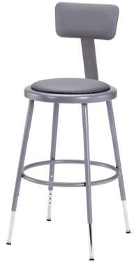 """National Public Seating NPS? 18"""" High Adjustable Height Heavy Duty Vinyl Padded Steel Stool With Backrest, Grey"""