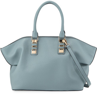 Neiman Marcus Sophia Faux-Leather Satchel Bag, Powder Blue $95 thestylecure.com