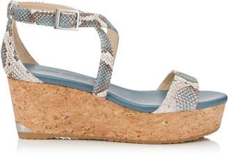 Jimmy Choo PORTIA 70 Dusk Blue Nubuck Snake Printed Leather Cork Wedge Sandals