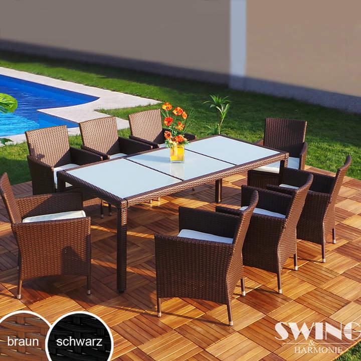 Swing&Harmonie Polyrattan-Esstisch-Garnitur für 8 Personen