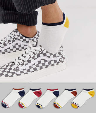 Off-White ASOS DESIGN sneaker socks in with contrast retro details 5 pack