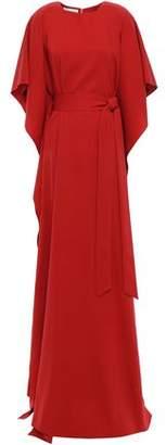 Oscar de la Renta Belted Cape-effect Silk-blend Crepe Gown