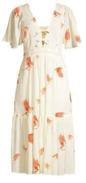 Rebecca Taylor Short-Sleeve Bird Printed Midi Dress