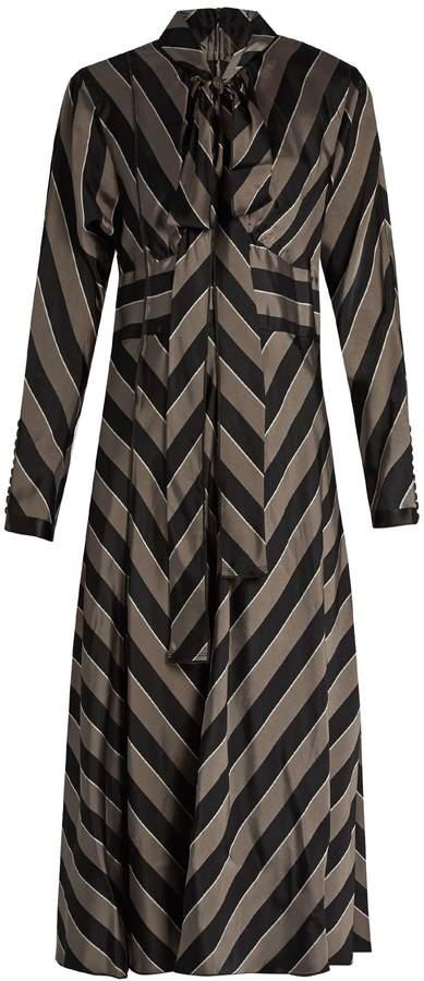 Marc JacobsMARC JACOBS Tie-neck striped satin midi dress
