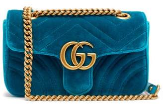 Gucci Gg Marmont Mini Quilted Velvet Cross Body Bag - Womens - Green