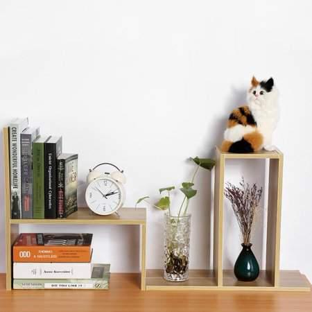 TMISHION Desktop Storage Rack,DIY Table Desktop Storage Rack Display Shelf Organizer Counter Top Fashion Active Bookcase Magazine Holder Home Office Use Book Holder Wood Color