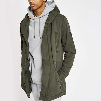 River Island Superdry green hooded parka jacket