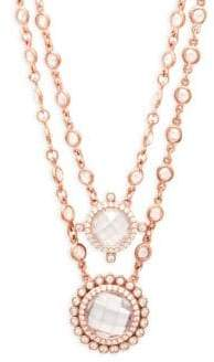 Freida Rothman Crystal Double Layer Pendant Necklace