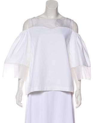 Issa Silk-Blend Cold-Shoulder Top