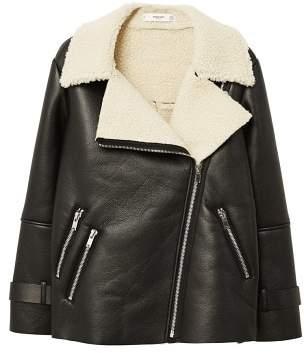 MANGO Faux shearling-lined biker jacket
