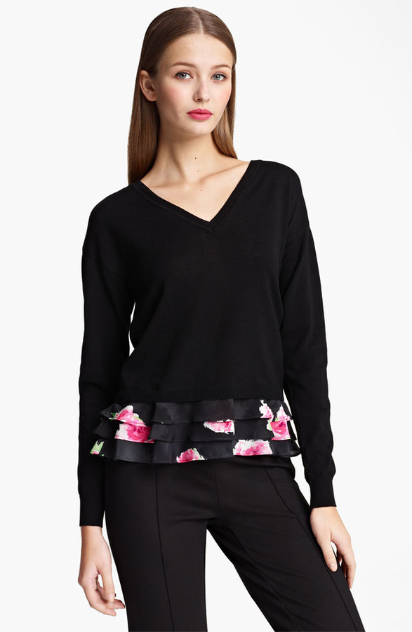 Moschino Cheap & Chic Rose Print Ruffled Hem Top