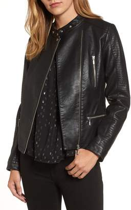 Halogen Quilted Faux Leather Moto Jacket