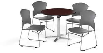 """OFM Multi-Use Break Room Package, 36"""" Round Flip-Top Table with Plastic Stack Chairs, Mahogany Finish with Black Seats (PKG-BRK-031)"""
