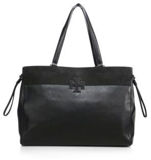 Tory Burch Stacked T Leather & Suede East West Tote $495 thestylecure.com