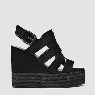 Black Leather Marzee Espadrille Wedges