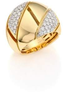 Roberto Coin Gourmette Pave Diamond& 18K Yellow Gold Ring