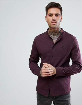 Religion jersey shirt with grandad collar and logo