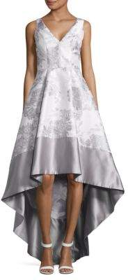 Betsy & Adam Metallic Jacquard Hi-Lo Flared Gown $289 thestylecure.com