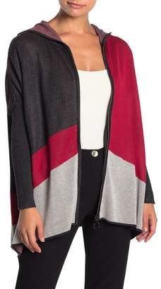 Joseph A Colorblock Hooded Zip Front Sweater