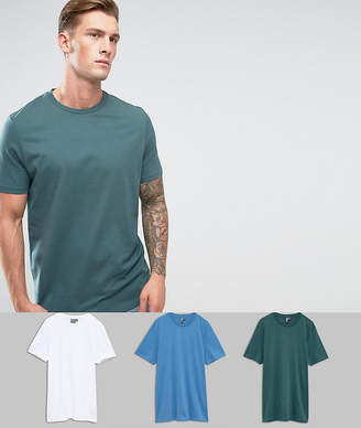 Asos DESIGN Longline T-Shirt With Crew Neck 3 Pack SAVE