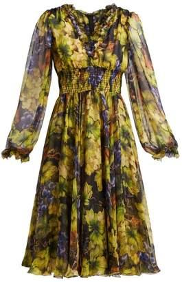 Dolce & Gabbana Grape Print Silk Chiffon Midi Dress - Womens - Black Multi