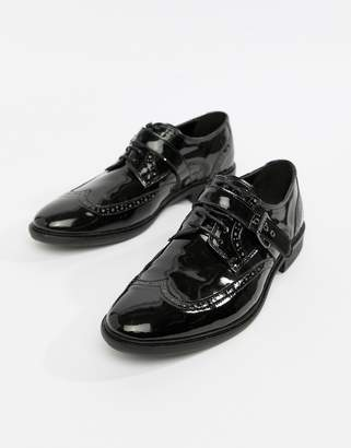 Asos Edition Brogue Shoes In Black Patent With Strap Detail