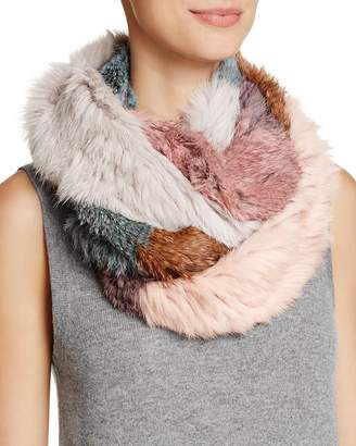 Jocelyn Patchwork Long Hair Rabbit Knitted Infinity Scarf