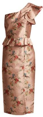 Johanna Ortiz La Divinidad Asymmetric Satin Dress - Womens - Light Pink