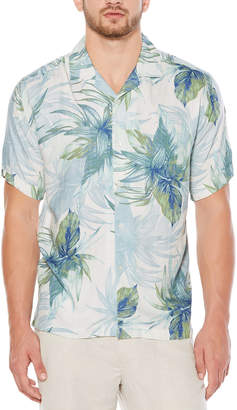 Cubavera Short Sleeve Rayon Window Pane Tropical Print Shirt