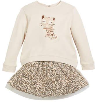 Mayoral Embroidered Kitty Sweatshirt w/ Leopard-Print Mesh Skirt, Size 3-7
