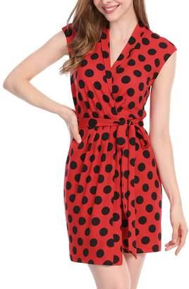 Allegra K Women's Dots Tie Waist Above Knee Christmas Wrap Dress L
