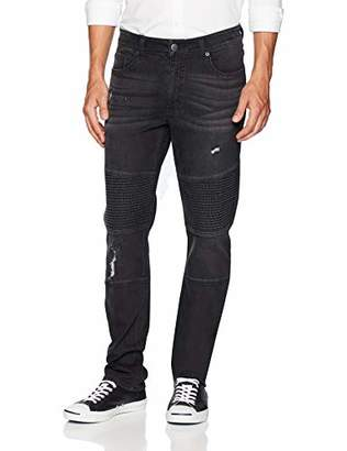 Co Quality Durables Men's Distressed Athletic Fit Stretch Moto Jean 34x32..