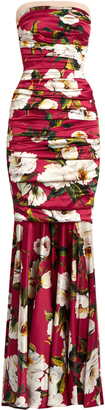 DOLCE & GABBANA Peony-print strapless silk-blend satin gown $5,845 thestylecure.com