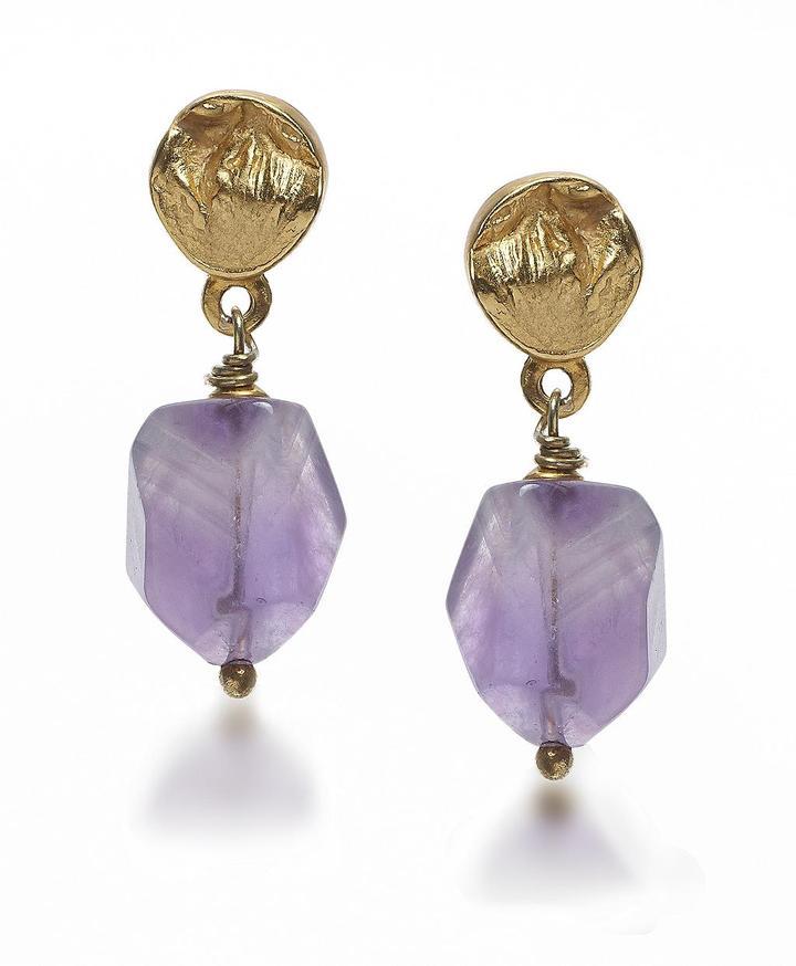 Purple Natural Cut Stone Drop Earrings