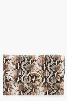 boohoo Large Ring Snake Clutch