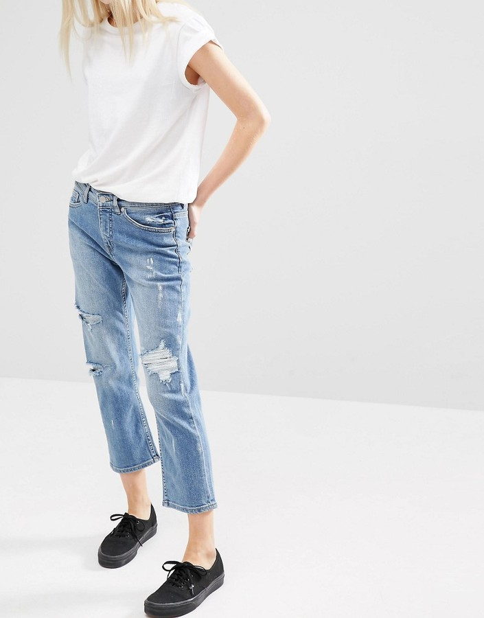 Cheap MondayCheap Monday Mid Rise Straight Cropped Jeans With Distressing