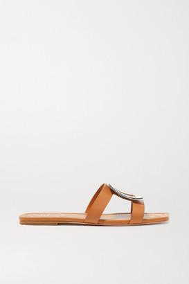 Roger Vivier Biki Viv' Embellished Leather Slides - Tan