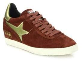Ash Guepard Bis Suede & Faux Metallic Leather Wedge Sneakers