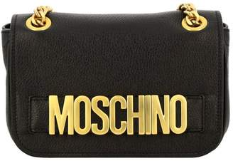 Moschino Crossbody Bags Shoulder Bag In Genuine Leather With Maxi Metallic Lettering