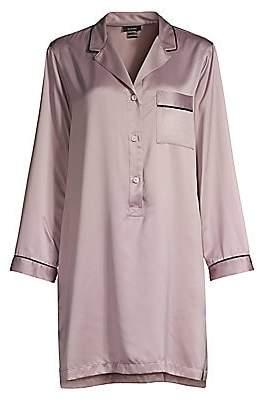 Natori Women's Purple Dove Feathers Satin Sleep Shirt