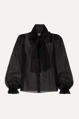 Dolce & Gabbana Pussy-bow Silk-organza Blouse - Black