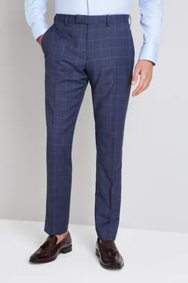 Moss Bros Italian Tailored Fit Blue Windowpane Trouser