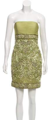 Sue Wong Strapless Embroidered Dress