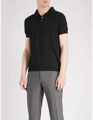 Silas OSCAR JACOBSON cable-knit cotton polo shirt