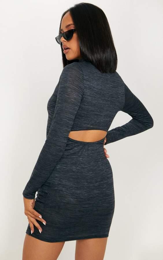 Black Open Back Detail Knitted Dress