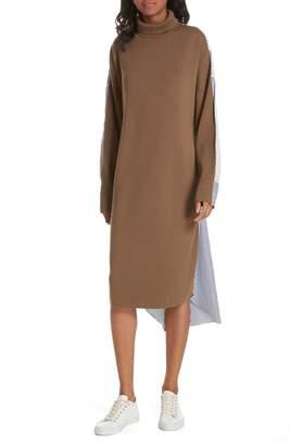 Tibi Mixed Media Midi Dress