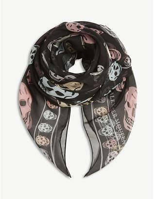 Alexander McQueen Multi-coloured skull print silk chiffon scarf